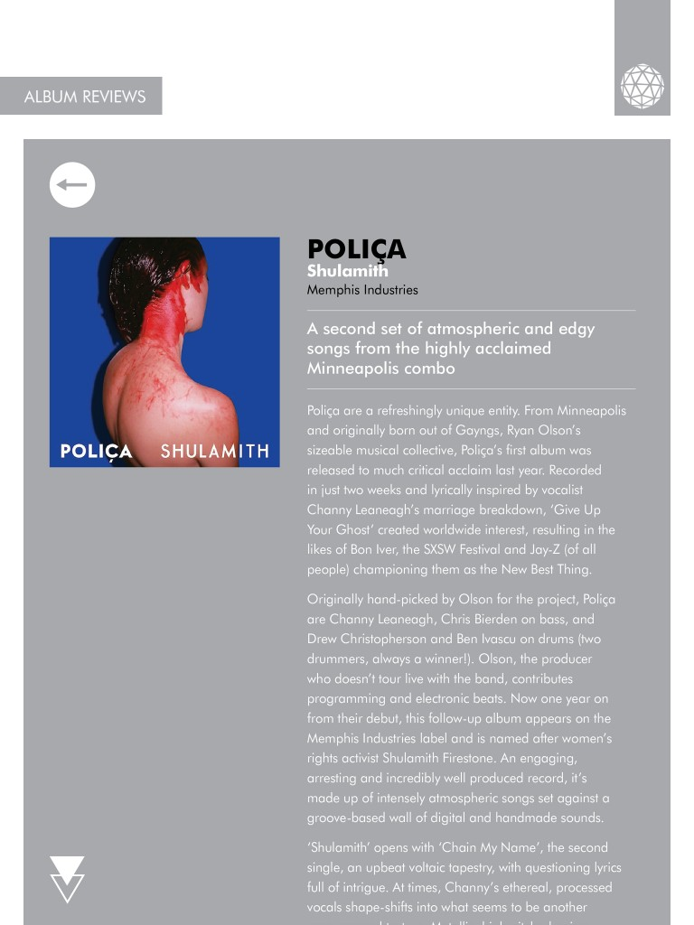 Poliça Shulamith review - Electronic Sound magazine Issue 4